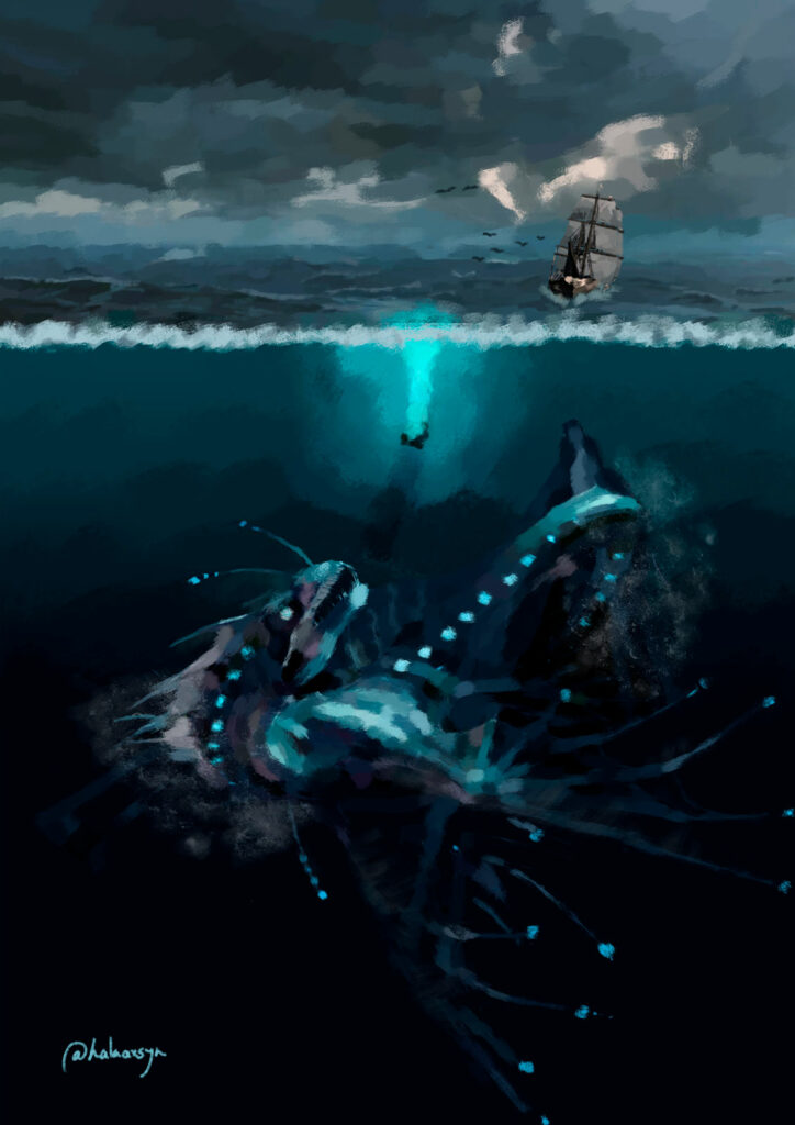 Storm and deep sea monster